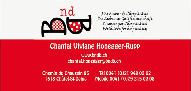 Visitenkarte von BndB Bed and Breakfast von Chantal Honegger
